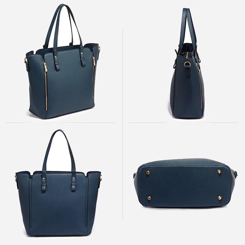 Détails du sac à main bandoulière pour femme en cuir bleu.