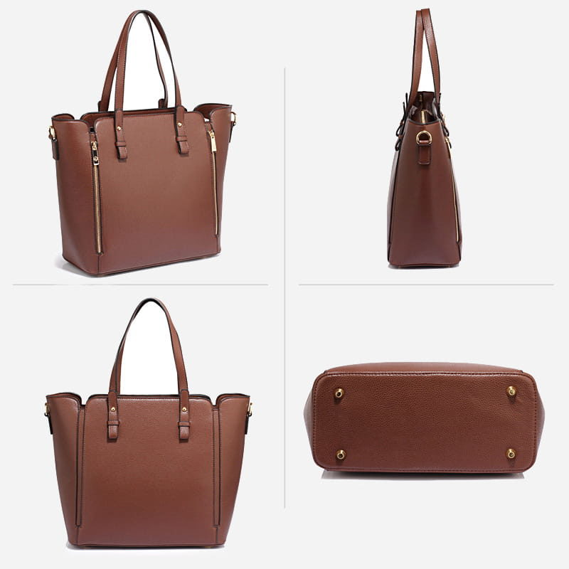 Détails du sac à main bandoulière pour femme en cuir brun.