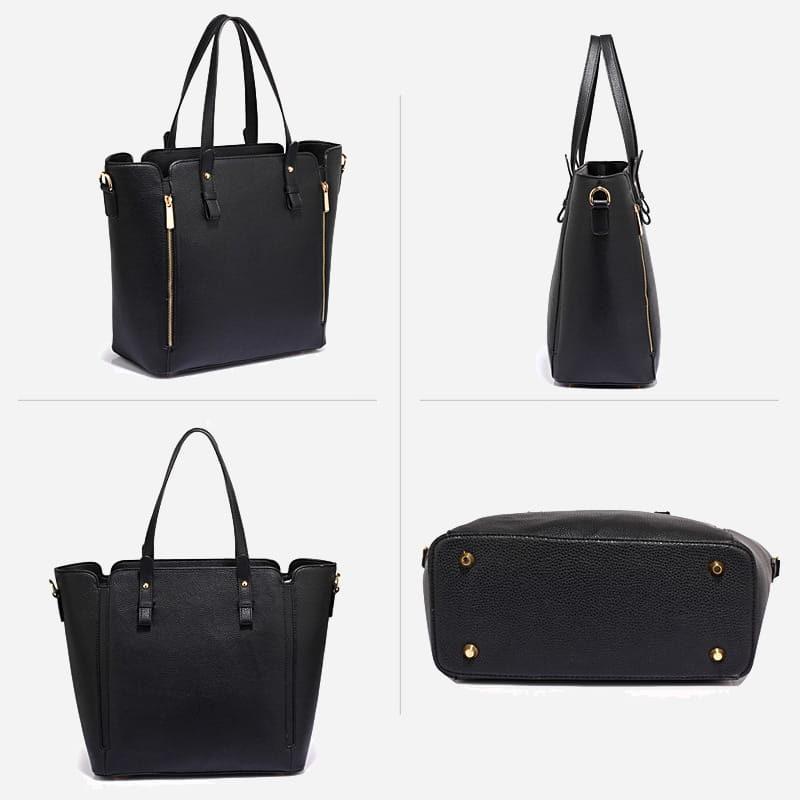 Détails du sac à main bandoulière pour femme en cuir noir.
