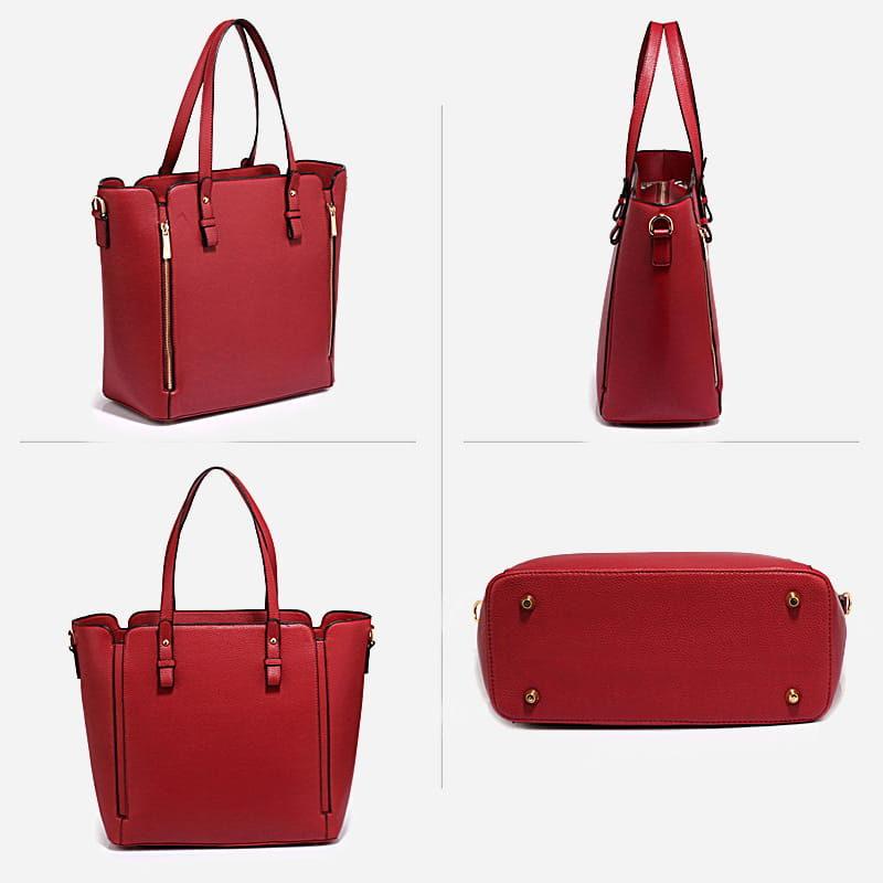 Détails du sac à main bandoulière pour femme en cuir rouge.