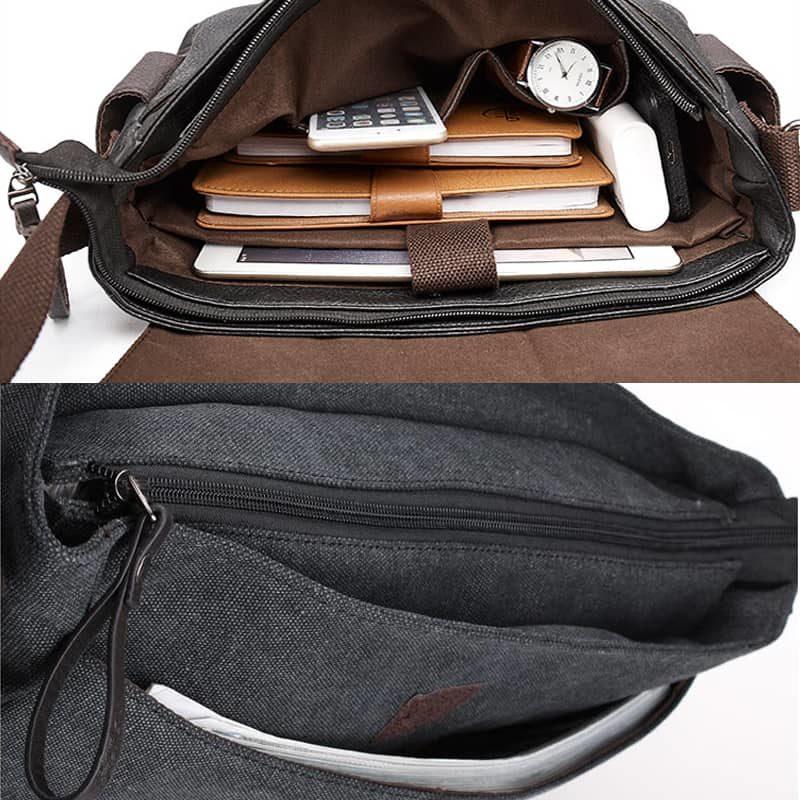 Détails du sac besace pour homme noir en toile et en cuir.