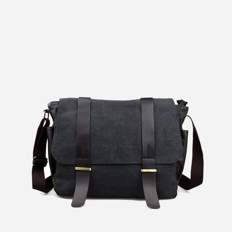 sac-besace-bandouliere-toile-cuir-noir