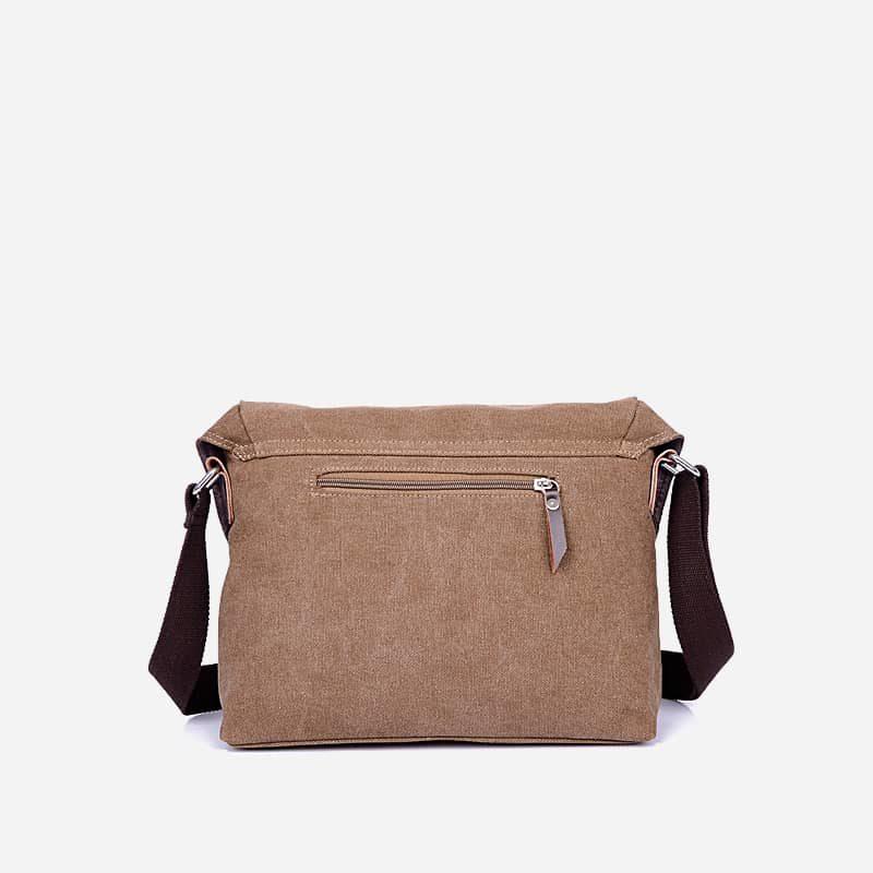 Verso du sac besace bandoulière en toile brun pour homme.