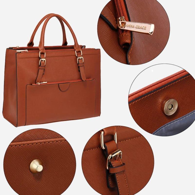 Détails du sac à main cabas pour femme en cuir marron avec bandoulière.