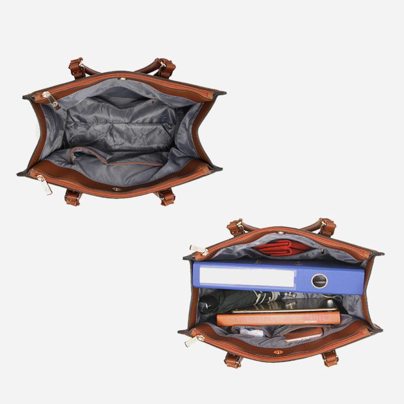Intérieur du sac à main cabas pour femme en cuir marron avec bandoulière.