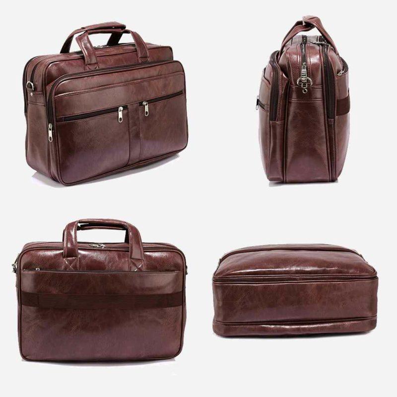 Détails de la sacoche pour homme en cuir brun pour ordinateur portable et bureau.