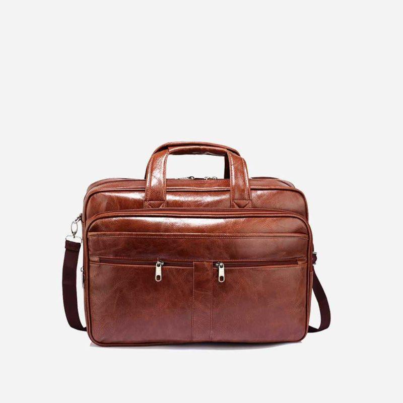 Sacoche pour homme en cuir marron pour ordinateur portable et bureau.