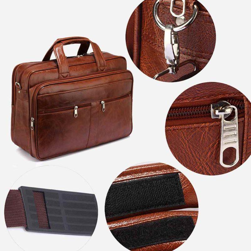 Détails de la sacoche pour homme en cuir marron pour ordinateur portable et bureau.