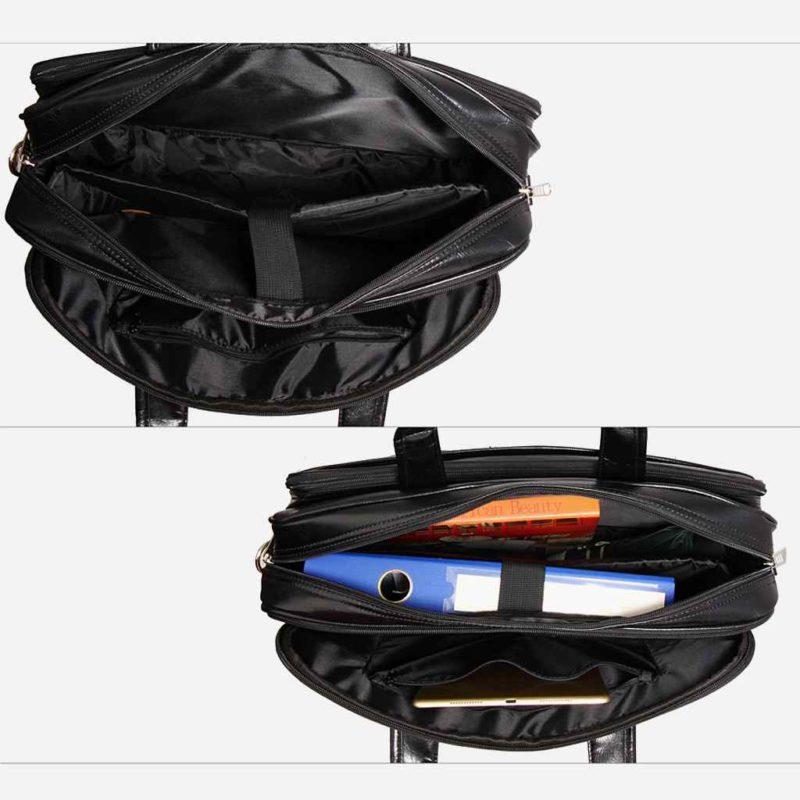 Intérieur de la sacoche pour homme en cuir noir pour ordinateur portable et bureau.