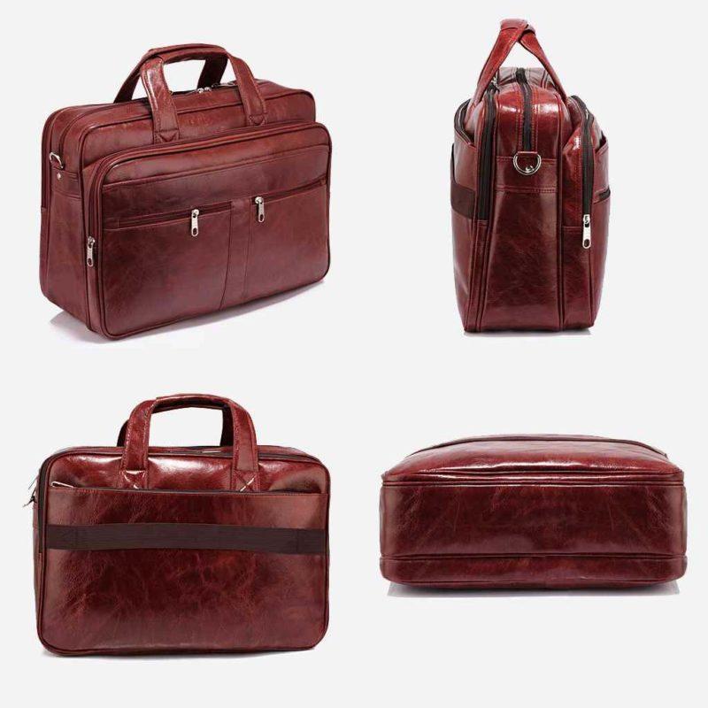 Détails de la sacoche pour homme en cuir rouge pour ordinateur portable et bureau.