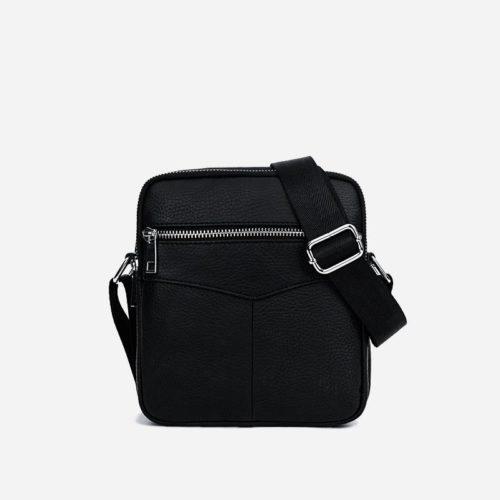 Verso de la petite sacoche à bandoulière pour homme en cuir véritable noir.