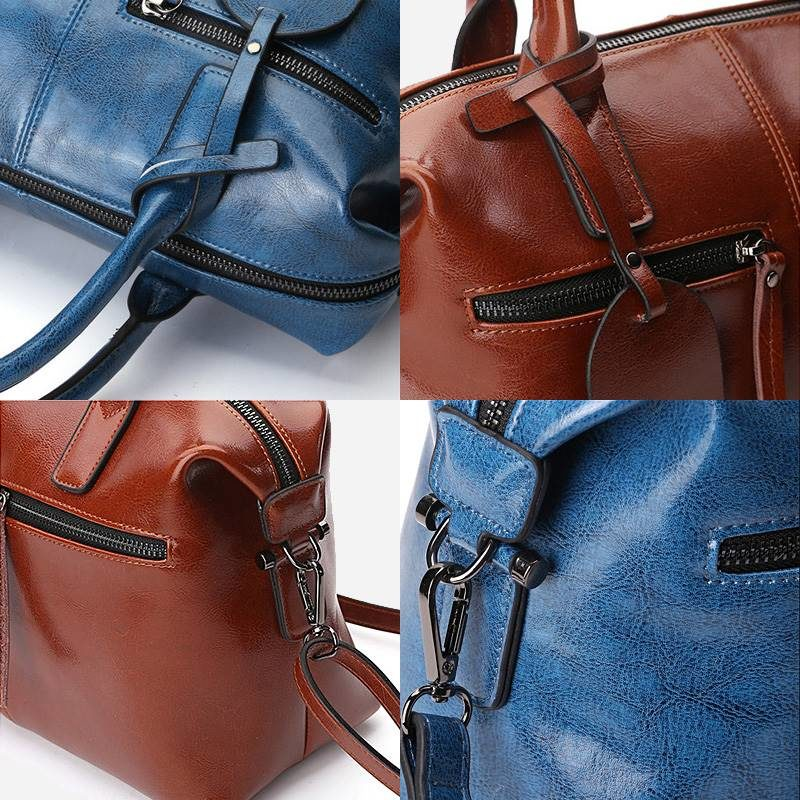Détails des sacs à main bandoulière pour femme en cuir véritable.