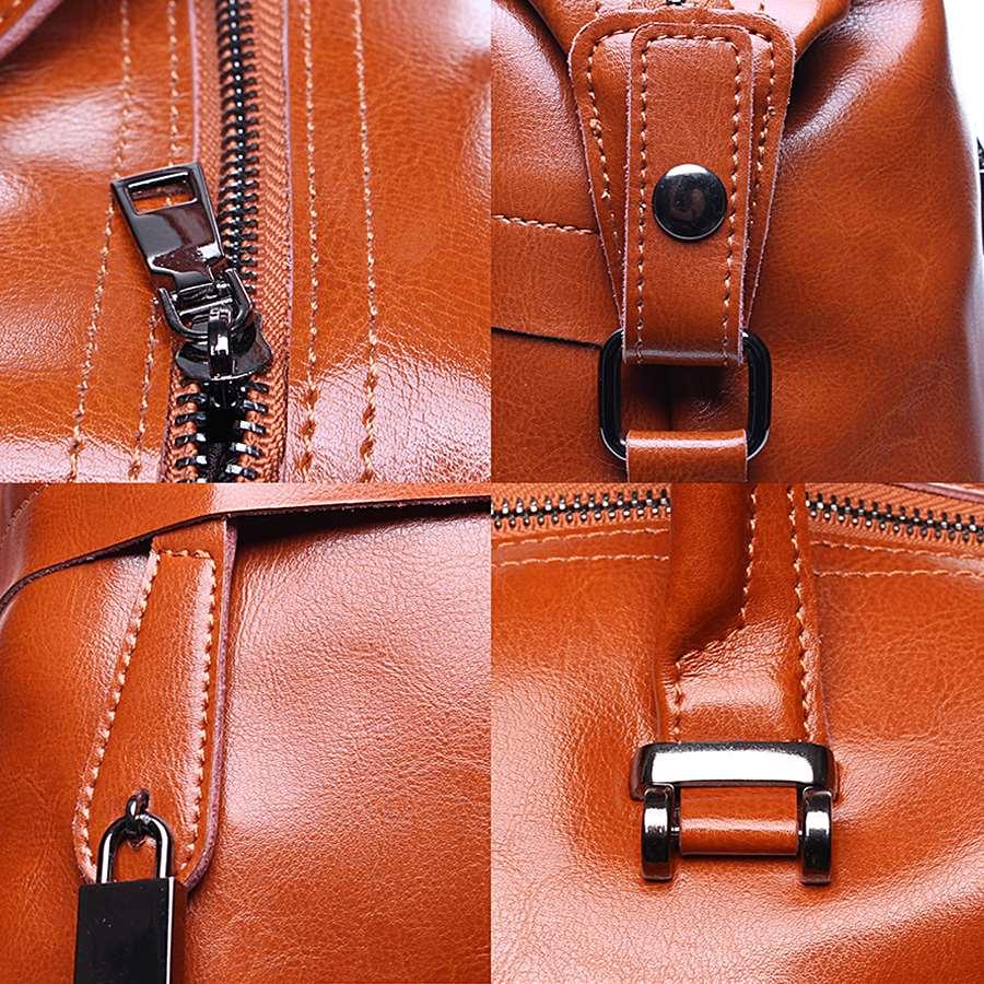 Détails du sac à main pour femme marron en cuir véritable avec bandoulière amovible.