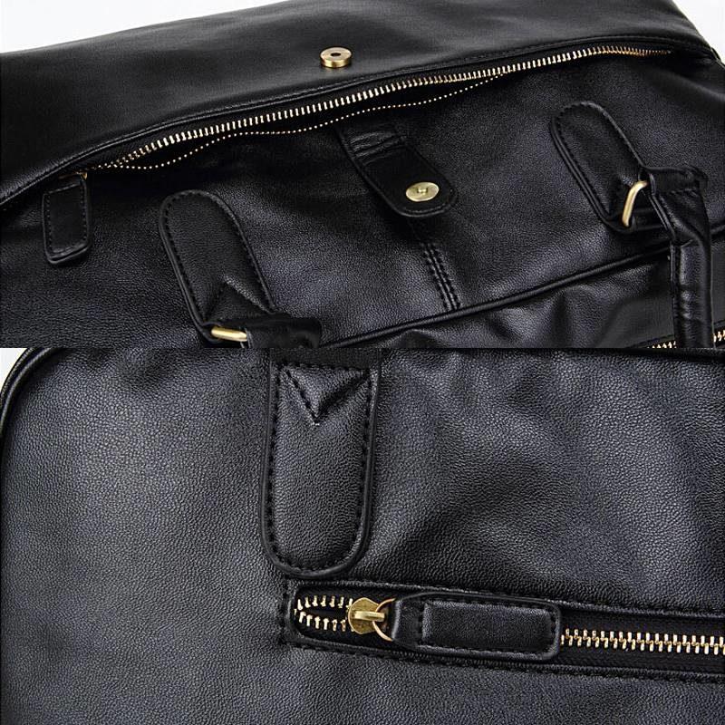 Détails du sac à main de type week-end 24h pour homme. En cuir et de couleur noir.