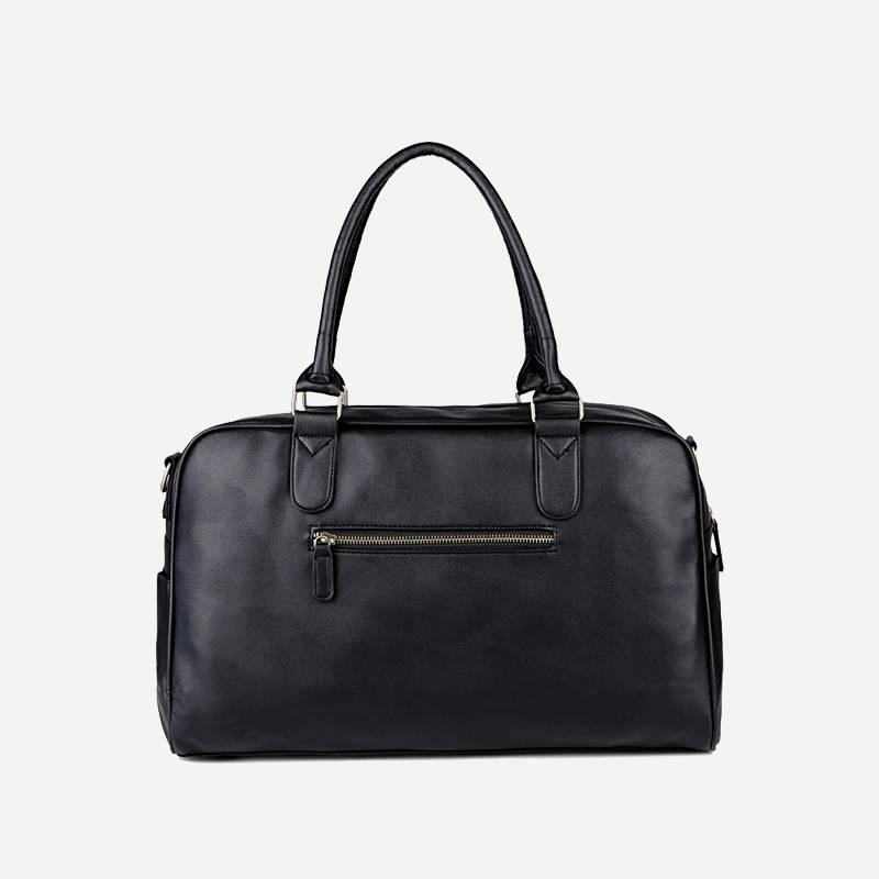 Verso du sac à main de type week-end 24h pour homme. En cuir et de couleur noir.