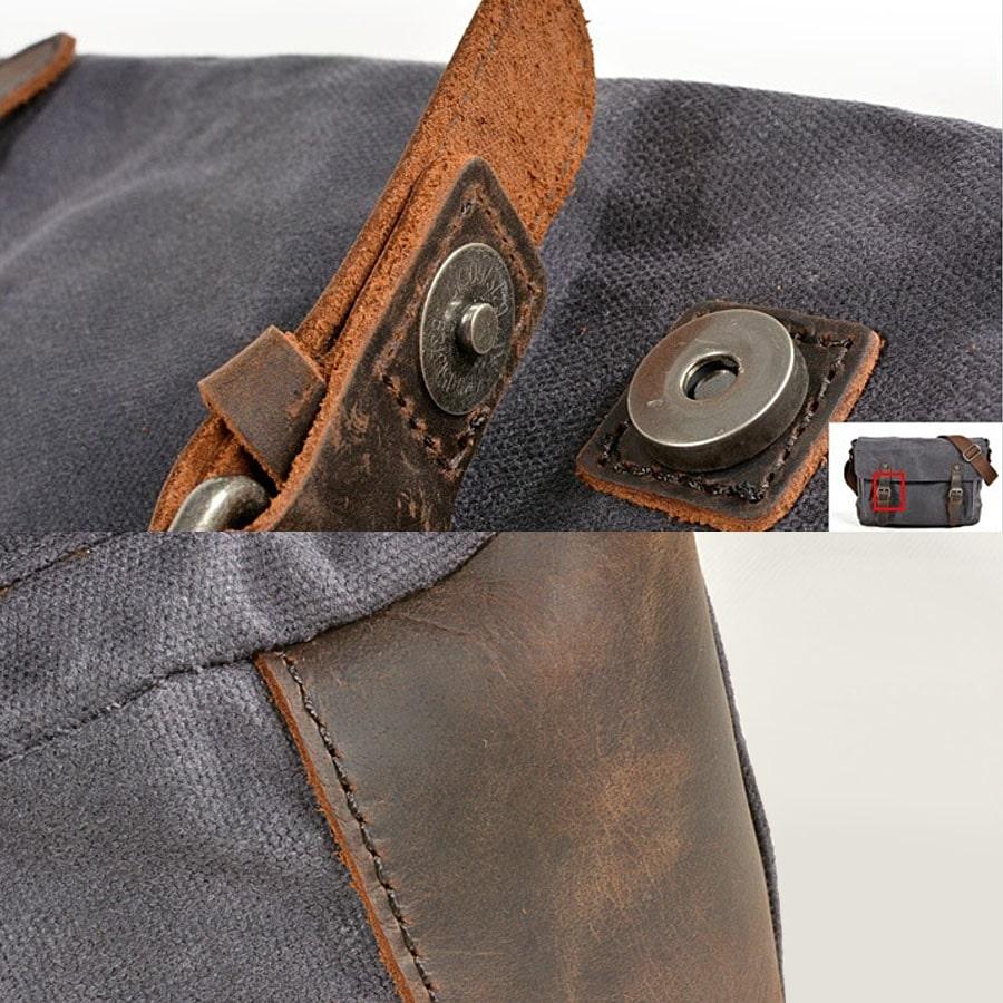 Détails morceaux de cuir, bouton poussoir, toile et languette.