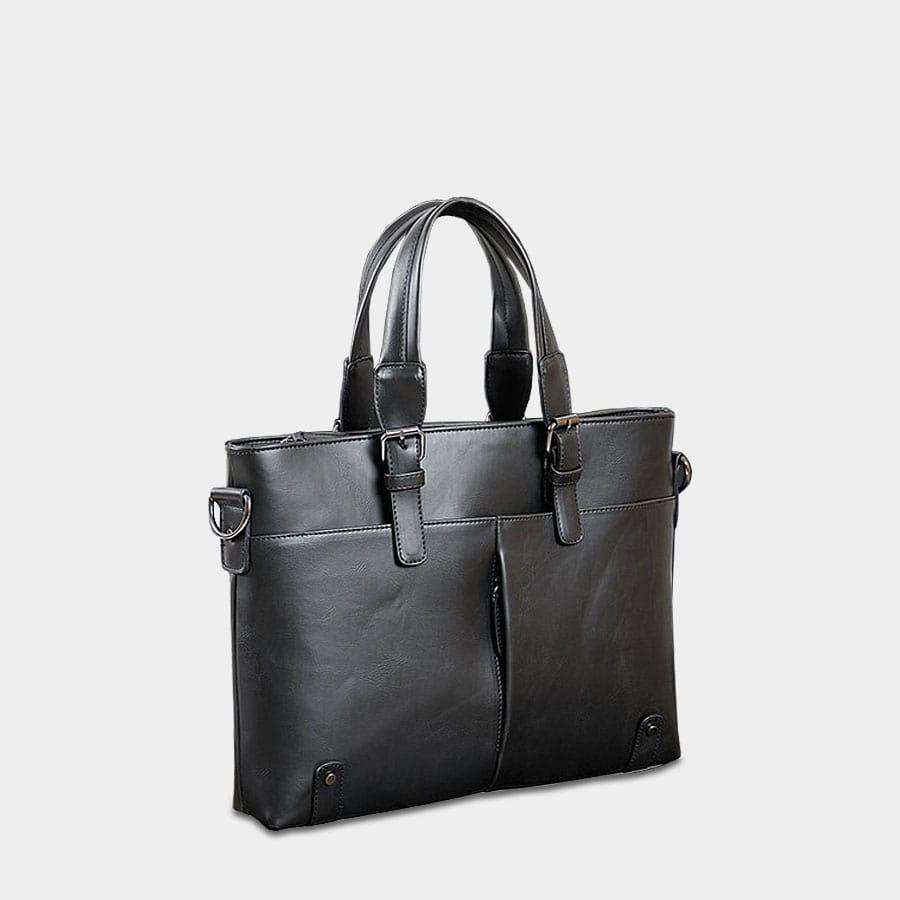 Sacoche porte-document à main et à bandoulière en cuir noir.