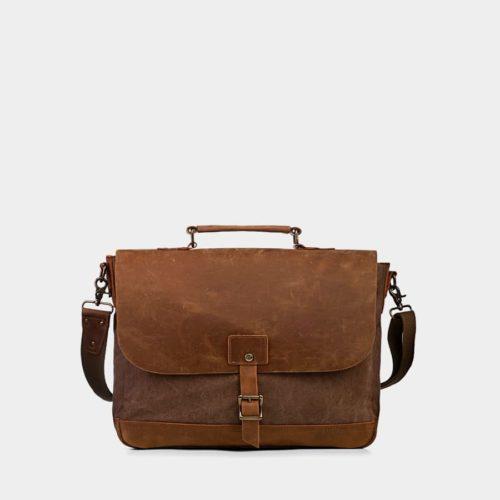 Sacoche façon besace en toile couleur brun et cuir véritable marron.