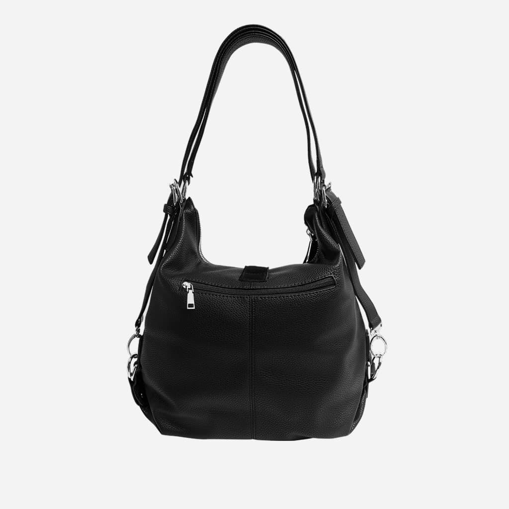 Verso du sac à main pour femme en cuir véritable nubuck (suédine) noir.