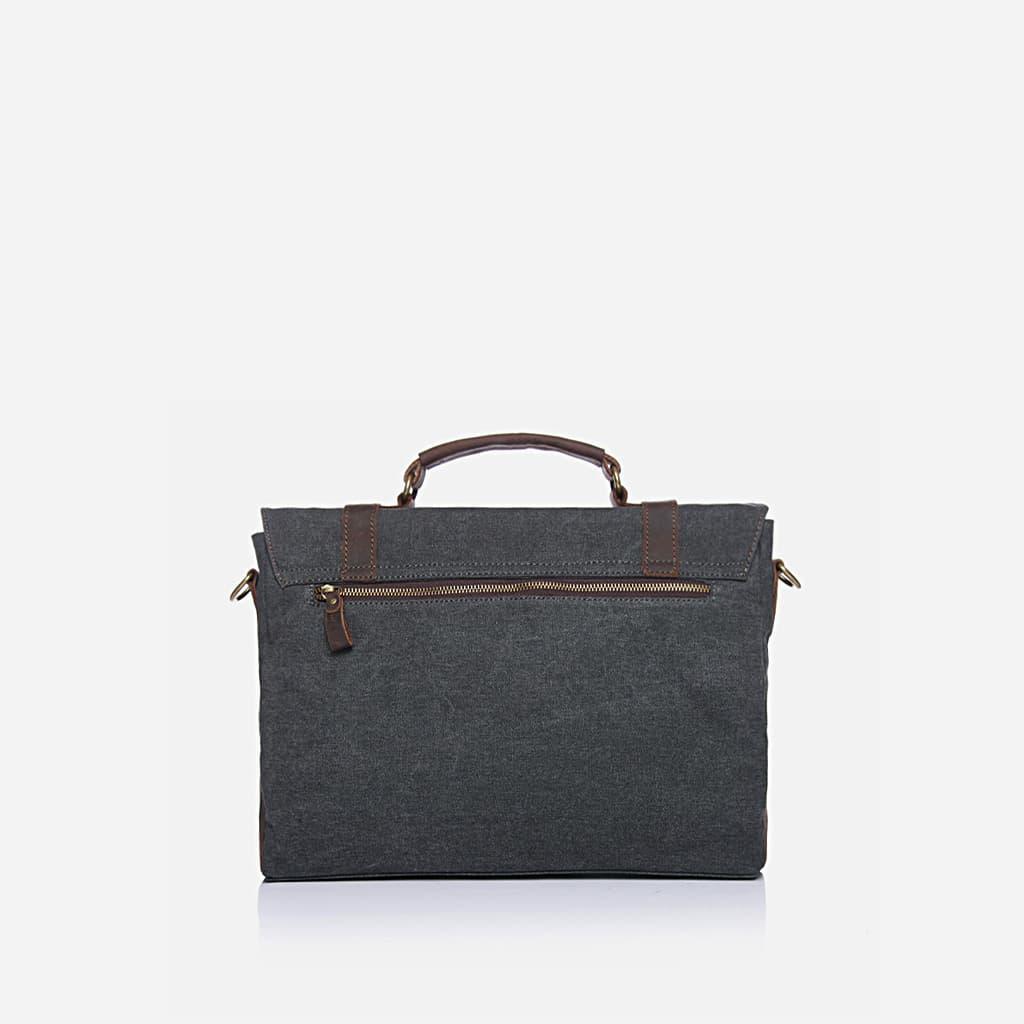 Verso de la sacoche besace pour homme en toile et en cuir véritable.
