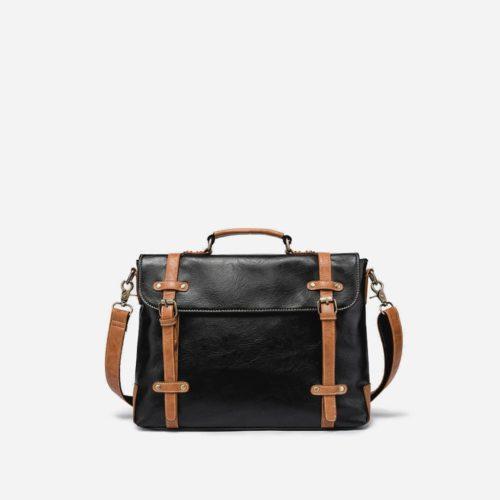 Sacoche besace porte-documents en cuir noir et marron.