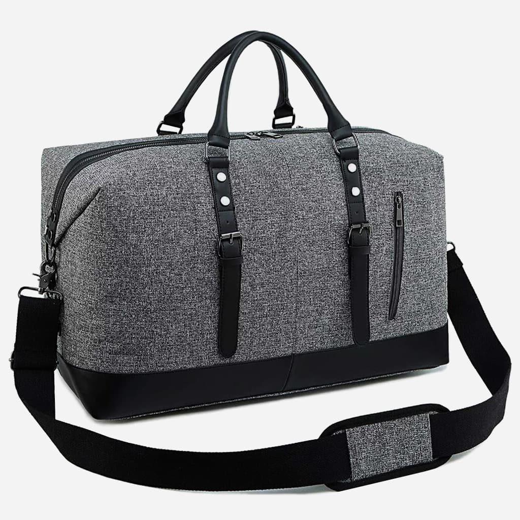 details-sac-voyage-toile-cuir-homme-femme-gris-noir-bandouliere-S15761