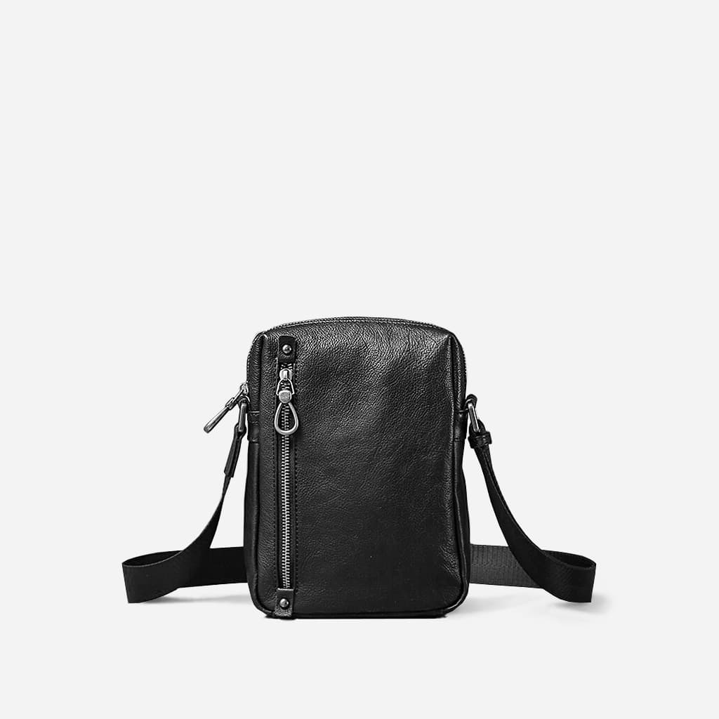 Petite sacoche homme en cuir véritable noir.