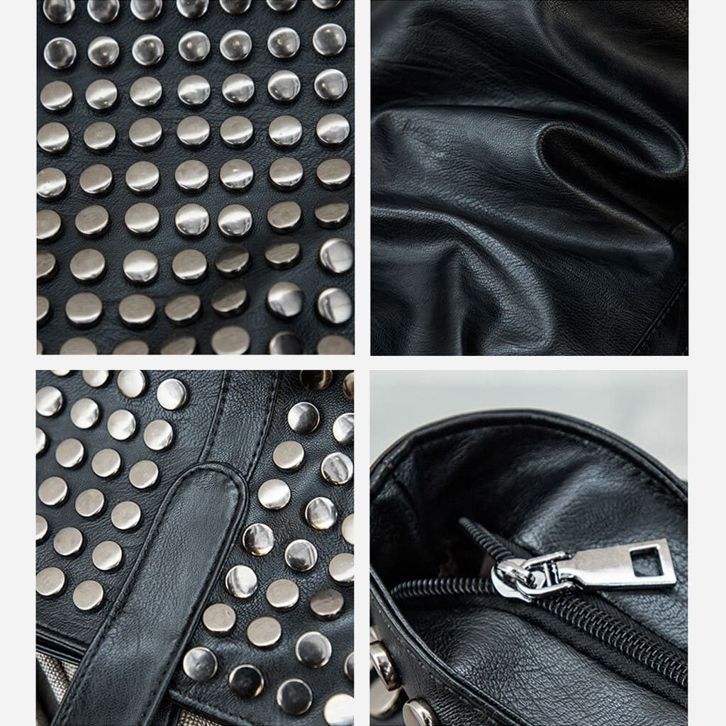 Détails des clous, fermeture avec curseur métallique argenté, cuir noir.