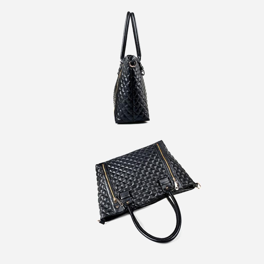 Côté et dessus du sac cabas pour femme en cuir noir matelassé.