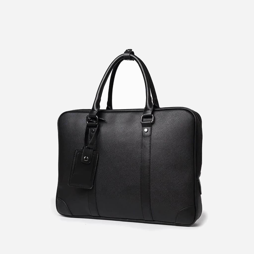 Sacoche porte-documents ordinateur pour homme en cuir noir saffiano.