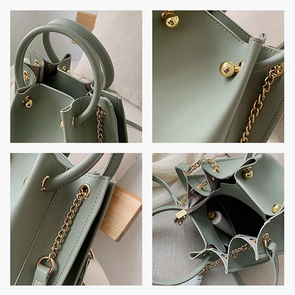 Intérieur du sac fourre tout, détails des anses, de la bandoulière à chaîne et du cuir vert.