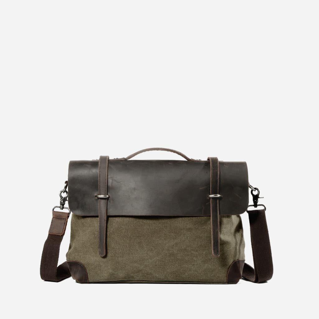 sacoche-besace-toile-cuir-veritable-vert-kaki-militaire-S15445