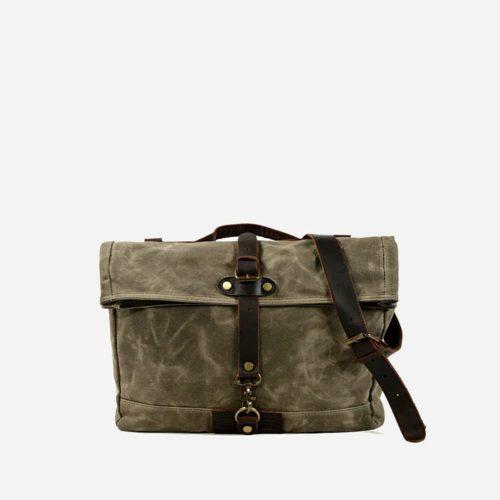 Grande sacoche besace en toile enduite et cuir véritable vert militaire pour homme
