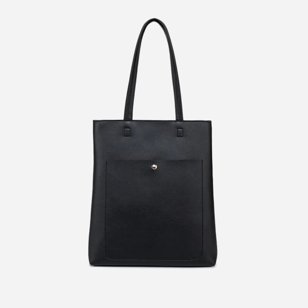 Grand sac cabas cuir noir pour femme format vertical