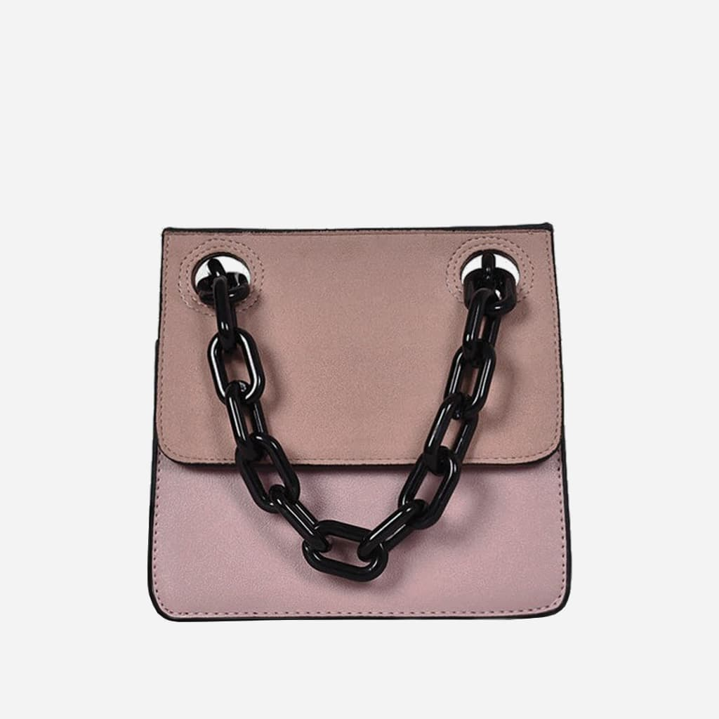 sac-besace-bandouliere-rose-chaine-noir-S14988