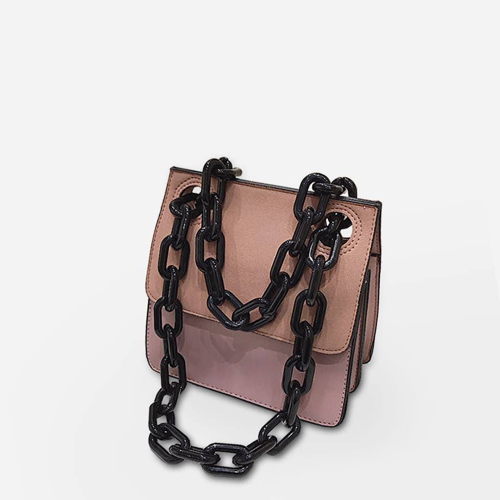 sac-besace-rose-bandouliere-chaine-noir-S14988