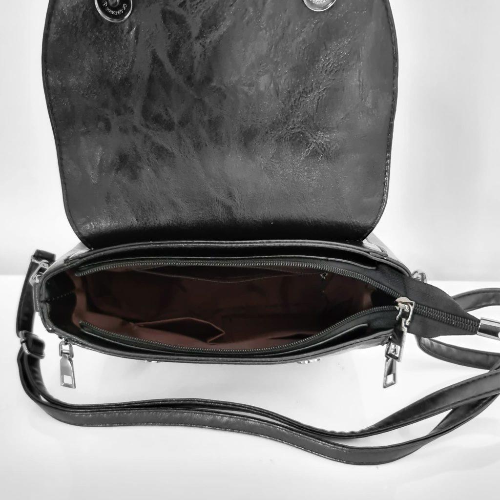 Ouverture du petit sac besace en simili cuir noir et veau velours