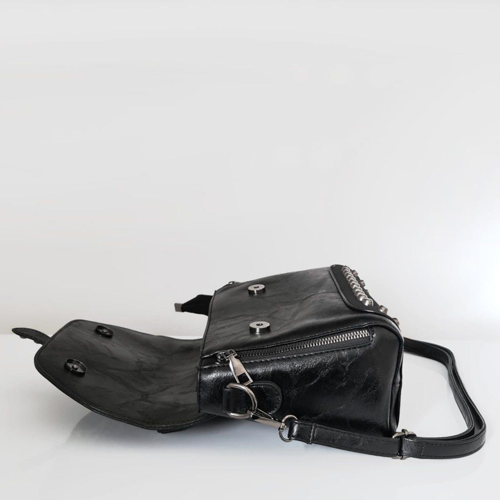 Ouverture du sac besace en cuir noir crispé et cuir suédé nubuck/velours