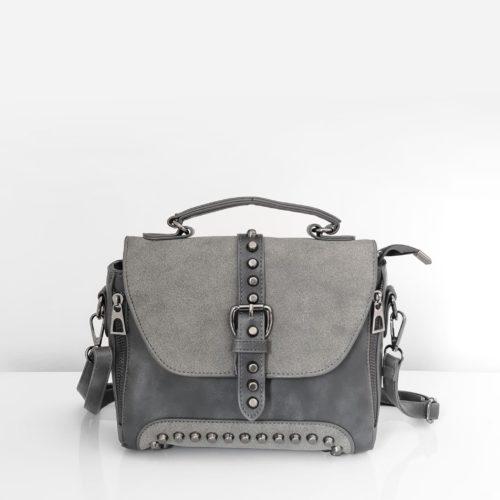 Petit sac à main femme en cuir gris crispé et cuir suédé nubuck/velours