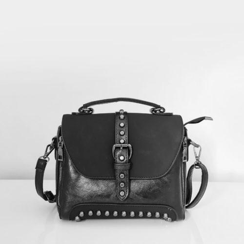 Petit sac à main femme en cuir noir crispé et cuir suédé nubuck/velours