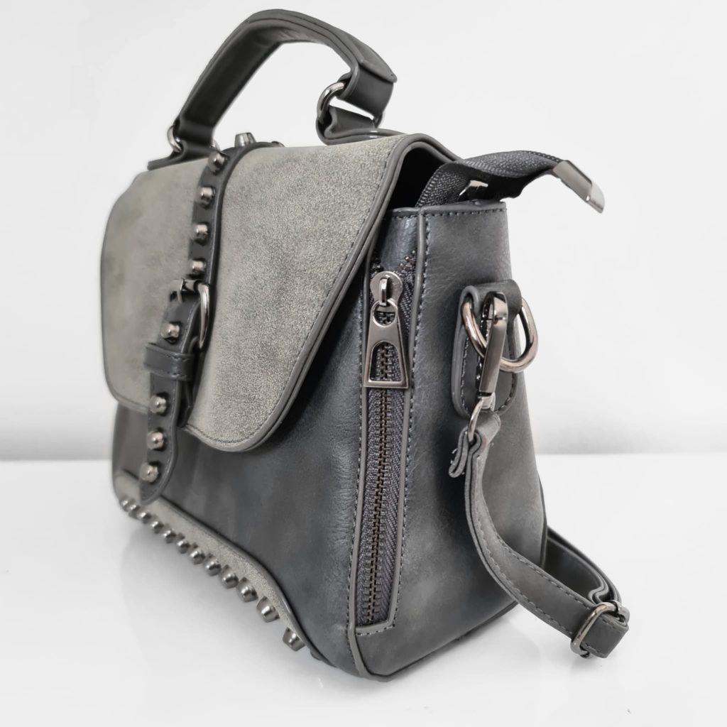 Petit sac besace femme en cuir gris crispé et cuir suédé nubuck/velours