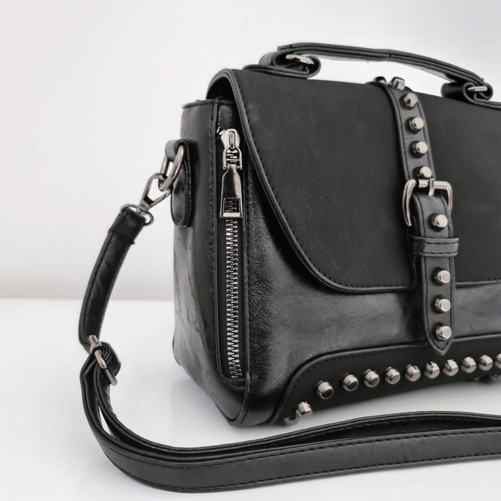 Petit sac besace femme en cuir noir crispé et cuir suédé nubuck/velours