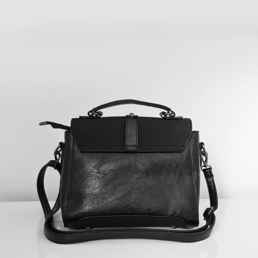 Verso du petit sac à main femme en cuir noir crispé et cuir suédé nubuck/velours