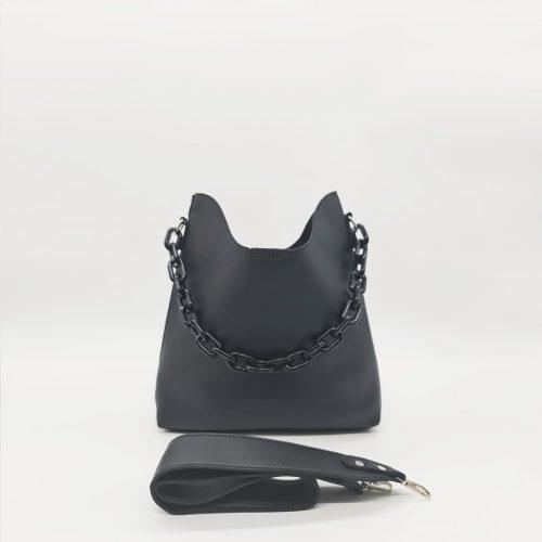 Sac à main bandoulière cuir noir avec anse à chaîne grosse maille