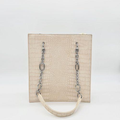 Sac cabas à main femme en cuir croco blanc cassé crème avec bandoulière à chaîne et cuir.