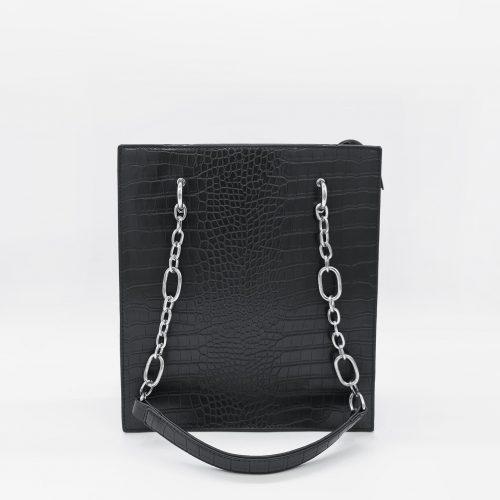 Sac cabas à main femme en cuir croco noir avec bandoulière à chaîne et cuir.