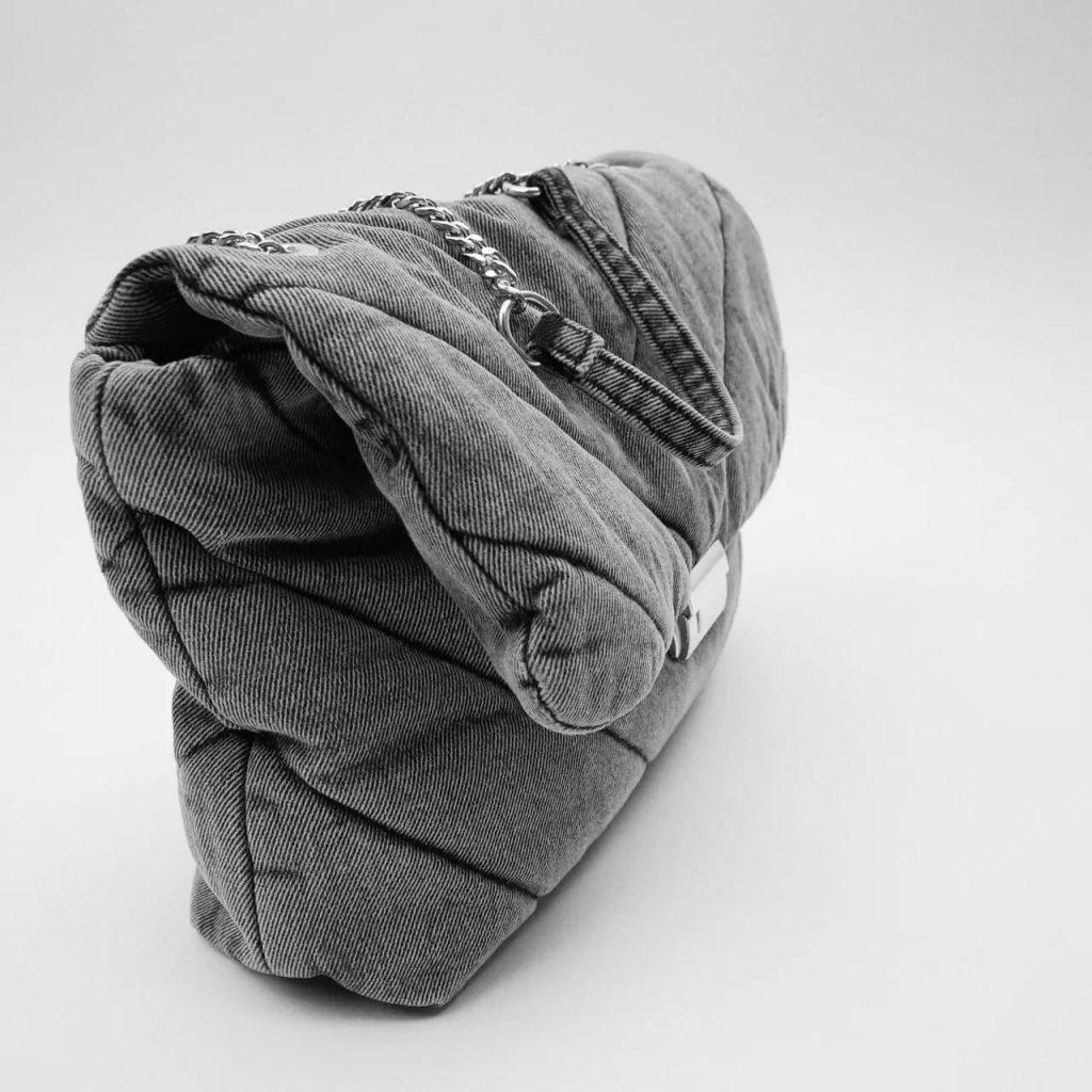 Côté du grand sac bandoulière besace femme en tissu denim jean gris