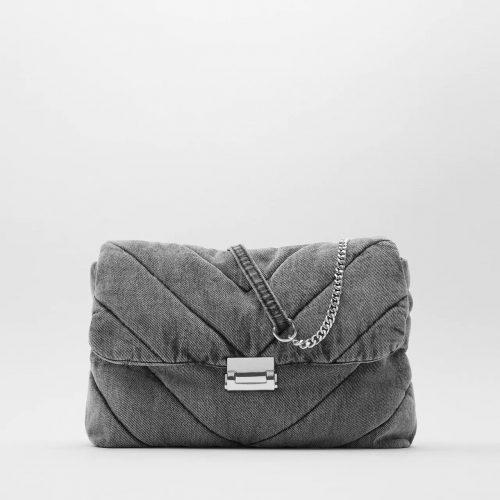 Grand sac bandoulière besace femme en tissu denim jean gris avec revêtement matelassé