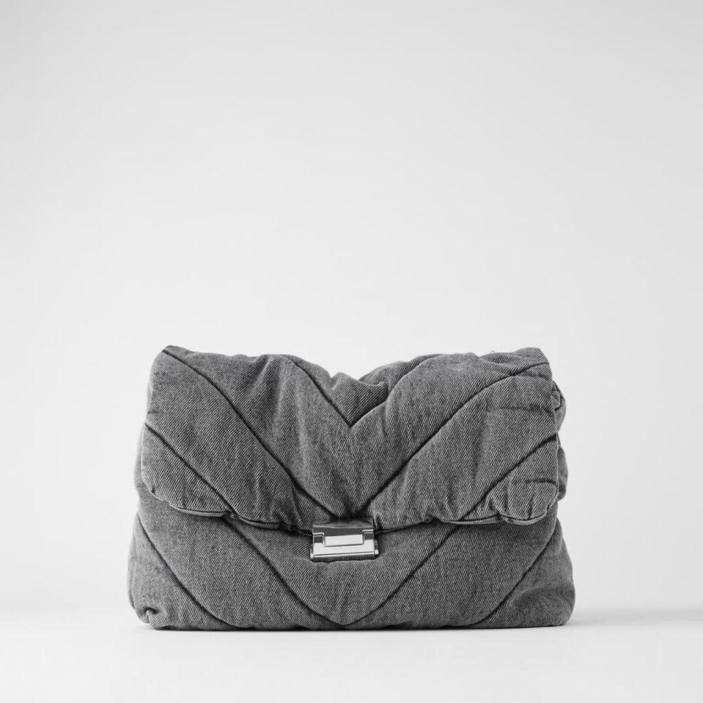 Grand sac bandoulière besace femme en tissu denim jean gris