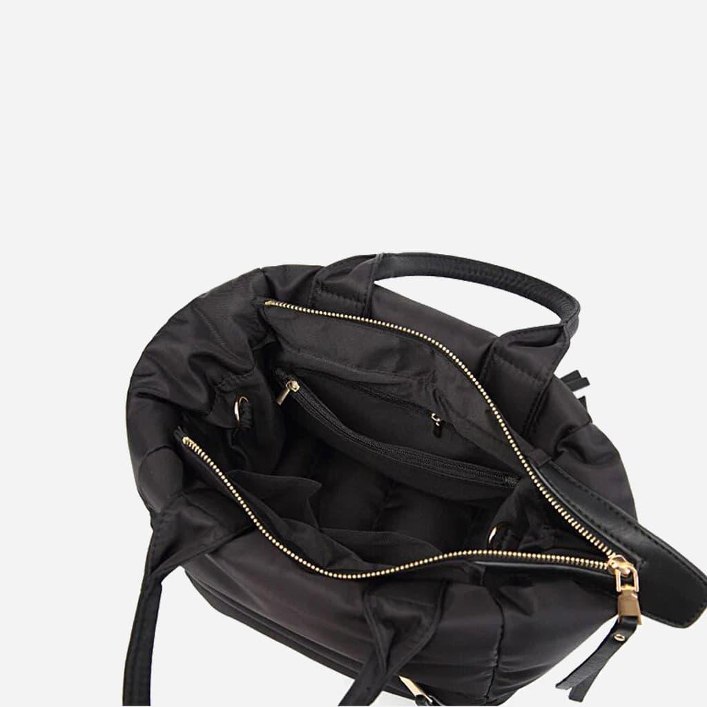 Intérieur du sac à main cabas rembourré coton noir